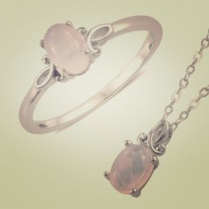 Jewelry - 2/$32 Rainbow Moonstone Ring and Necklace